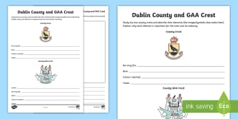 Dublin County and GAA Crest Activity Sheet - GAA Football All-Ireland Senior Championship, GAA Hurling All-Ireland Senior Championship, GAA crest