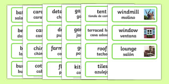 Houses and Homes Topic Word Cards Spanish Translation - spanish, house, home, building, Word Card, flashcard, flashcards, brick, stone, detached, terraced, bathroom, kitchen, door, caravan, where we live, ourselves