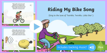 Riding My Bike Song PowerPoint - Transport and Travel, bike, bicycle, cycling, singing, song time