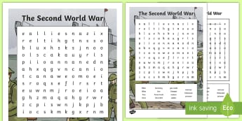 The Second World War Word Search  - CfE Social Studies resources, people past events and societies, world war 2, ww11, key words, vocabu