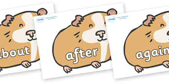 KS1 Keywords on Guinea Pigs - KS1, CLL, Communication language and literacy, Display, Key words, high frequency words, foundation stage literacy, DfES Letters and Sounds, Letters and Sounds, spelling