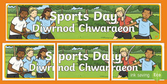 Sports Day English/Welsh Display Banner - Bilingual Welsh and English Displays, Incidental Welsh, displays, sports day, sport's day, diwrnod