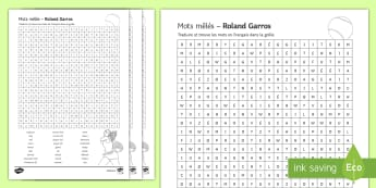 Roland Garros Differentiated Word Search French - French, KS3, tennis, wordsearch, differentiated, roland, garros, tournament, tournoi, key, words, vo