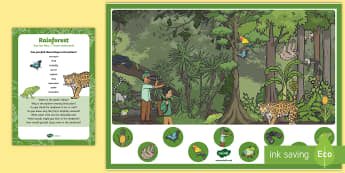 Rainforest Can You Find...? Poster and Prompt Card Pack - Jungle and Rainforest, wild animals, explorer, insects