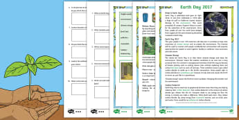KS2 Earth Day Differentiated Comprehension Go Respond  Activity Sheets - KS2, Earth Day, reading, comprehension, understand, environment, climate change, recycling, global i