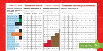 Karty Świąteczna matematyczna mozaika - Boże narodzenie, gwiazdka, gwiazdkowy, renifer, mikołaj, święty, gwiazdor, matematyka, liczenie,