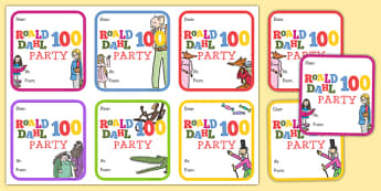 Roald Dahl 100 Party Invitations - roald dahl, 100, roald dahl 100, party invitations, party, invitations