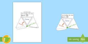 Modelo de papel: Ayuda visual - Las partes de una figura 3D - figuras 3D, figuras gemétricas, cuerpos geométricos, ayuda visual, cara, arista, vértice, ayuda v