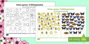Schau genau: Frühlingsmotive Arbeitsblatt: Erstes Zählen - Zahl, zählen, Mathe, Frühling, Schmetterling, Blume, Sonne, Biene, Regenschirm, number, counting,