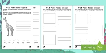 What Makes Ronald Special? Differentiated Activity Sheets - Ronald the Rhino, children's book, rhyme, story, text, rhyming couplets, syllables, Leopard, Python