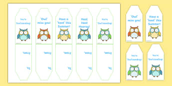 Cute Owl Themed End of Year Editable Gift Tags - cute owl, end of year, editable, gift labels