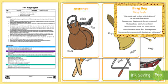 EYFS Noisy Jungle Busy Bag Plan and Resource Pack - Rumble in the Jungle, Giles Andreae, Rainforest, instruments, music, sound story, re-telling