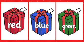 Colour Words on Christmas Presents - Christmas, xmas, colour words, present, presents, colour display, colour posters, colour, display, poster, posters, colour mixing, black, white, red, green, blue, yellow, orange, purple, pink, brown