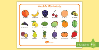 Früchte Wortschatz - Früchte Wortschatz, Früchte, Wortschatz, Ernährung, Gesunde Ernährung, Frucht, Apfel, Frucht Wor