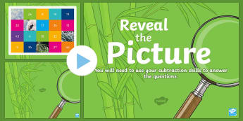 Subtraction Reveal the Picture Plenary Activity - CfE Numeracy and Mathematics, number, number processes, revision, recap, takeaway, subtract, subtrac