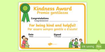 Kindness Award Certificate English/Italian - Kindness Award Certificate - kindness award certificates, reward, award, certificate, rewards, schoo