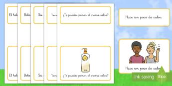 Tarjetas de emparejar: Frases simples - Verano - lectura, leer, verano, frases, emparejar, estaciones, estación, ,Spanish
