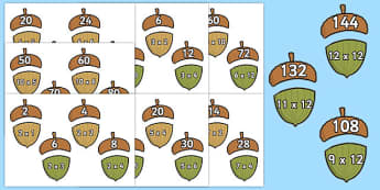 2 - 12 Times Tables Acorn Matching Activity Pack - multiplication, acorn, matching, activity, pack