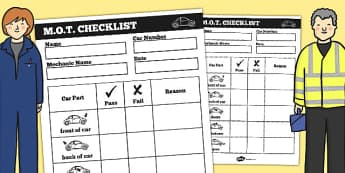 Mechanic Roleplay Area MOT Checklist - mechanic, role-play, mot