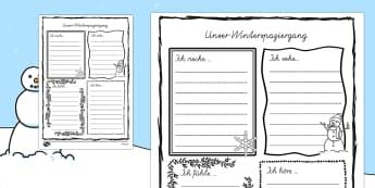 Winterspaziergang Deutsch Schreibvorlage