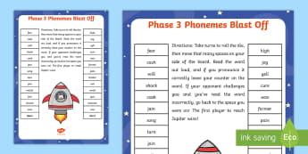 Phase 3 Phonemes Blast Off Partner Game -  - Phase 3 Blends Blast Off Partner Game - phase 3, phases, games