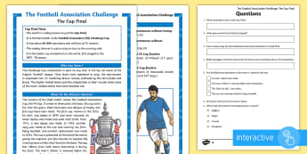 KS2 FA Cup Differentiated Comprehension Go Respond Activity Sheets - Events, Footbal, UKS2, LKS2, Reading, discuss their understanding and explain the meaning of words i