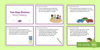 KS2 Two-Step Division Word Problems Maths Challenge Cards - KS2, Key Stage 2, Year 3, Year 5, Year 6, Y3, Y5, Y6, solve problems, including missing number probl