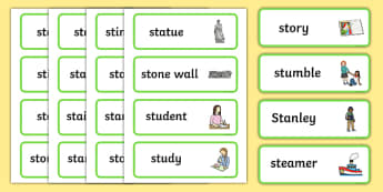 Two Syllable 'st' Blend Word Cards - st sound, word cards, cards