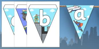Superheroes Themed Alphabet Bunting - superhero theme, alphabet bunting, superhero bunting, A-Z bunting, superhero alphabet bunting, alphabet buntin
