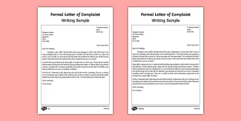 Formal Letter of Complaint Writing Sample