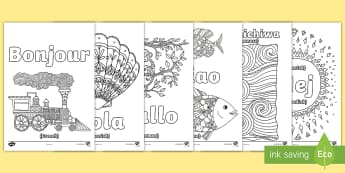 Hello in Different Languages Mindfulness Colouring Pages - mindful, mindfulness, colouring, colours, hello, hola ,hallo, ciao, kon'nichiwa, hej, fine motor, r