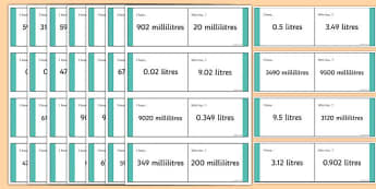 Millilitres and Litres Conversion Loop Cards