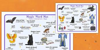 Magic Word Mat Polish Translation - polish, halloween, hallowe'en, word mat, word, mat