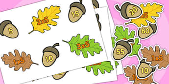 Acorn Times Tables Matching Activity x5 - acorn, times table, cards, multiply