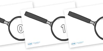 Numbers 0-31 on Magnifying Glass - 0-31, foundation stage numeracy, Number recognition, Number flashcards, counting, number frieze, Display numbers, number posters