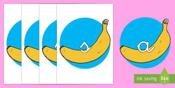 Tarjetas de fonemas: Plátanos - lecto, leer, primeros sonidos, comida - lecto, leer, primeros sonidos, comida