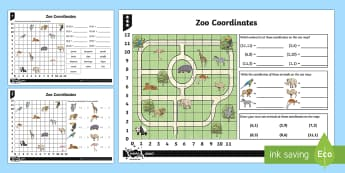 Zoo Coordinates Activity Sheets - Position, direction, coordinates, worksheets, zoo coordinates