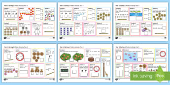 Year 1 Spring 1 Maths Activity Mats - Year 1, maths, activity mats, questions, answers, read, reason, predict, find, total, equals, add, a