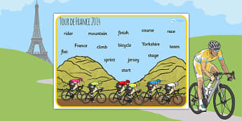Tour de France 2014 Word Mat - le tour, cycle, sport, visual aid