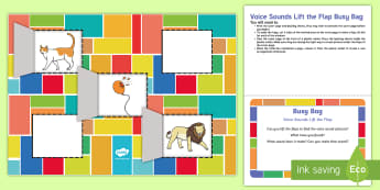 Voice Sounds Lift the Flap Busy Bag Prompt Card and Resource Pack - EYFS, Phase 1, Aspect 6, sound effect, letters and sounds, phonics, speaking, speech, speech develop