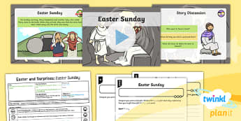 PlanIt Religion Year 1 Easter and Surprises Lesson 5 Easter Sunday Lesson Pack - easter, RE