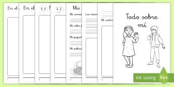 Cuadernillo: Todo sobre mí - todo sobre mí, cuadernillo, cuaderno, librito, libro, nosotros, familia, auto-estima