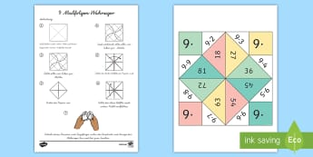 9 Malfolge Wahrsager Spiel - 9 Times Table Fortune Teller - 9 times table, times table, fortune teller, activity, craft, fold, ti