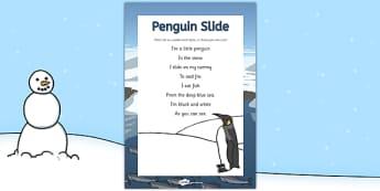 Penguin Slide Rhyme - Antarctic, Polar, Penguin, rhyme, song, eyfs, early years