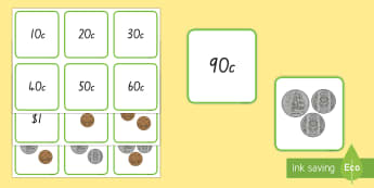 Money (to $1- mixed coins) Matching Cards - New Zealand, Maths, Coins, Matching cards, $1