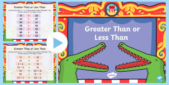 Greater Than and Less Than  PowerPoint - Greater Than, less than, bigger, smaller, equal, number recognition