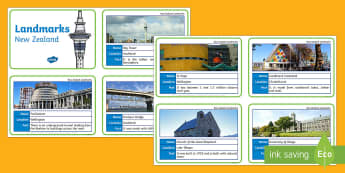 New Zealand Landmark Fact Cards - fact cards, landmarks, new zealand, aotearoa, my place, cities, places, monuments, New Zealand archi