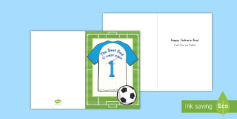 Soccer Themed Fathers Day Gift Card Template US English/Spanish (Latin) - fathers day, father, dad, daddy, grandad, grandpa, card, templet, soccer, soccer card