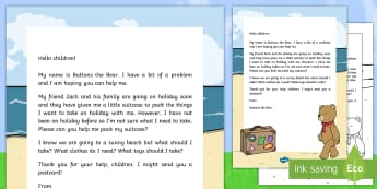 Editable Holiday Bear Suitcase Letter - EYFS, Early Years, Summer, holidays, suitcase, problem solving, topic starter, Wow activity, teddy b