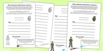 World War One Letter Template Arabic Translation - arabic, world war one